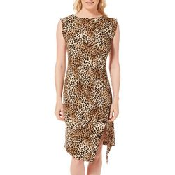 Emma & Michelle Womens Leopard Print Ruched Sheath Dress