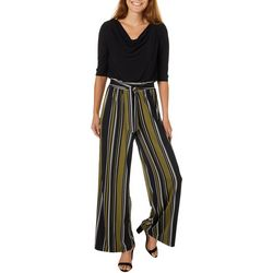 Emma & Michelle Womens Vertical Stripe Drape Neck