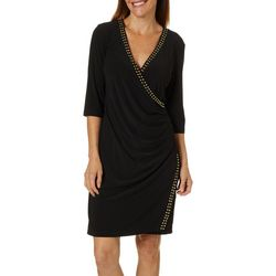 Emma & Michelle Womens Stud Embellished Faux Wrap Dress