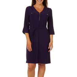 Emma & Michelle Womens Solid Zip Front Tie Waist Dress