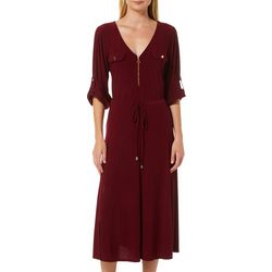 Emma & Michelle Womens Solid Zip Front Midi Dress