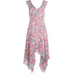 Emma & Michelle Womens Floral Ruffled Short Dress