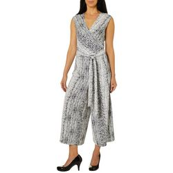 Emma & Michelle Womens Snakeskin Print Sleeveless Jumpsuit