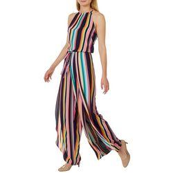 Emma & Michelle Womens Stripe Halter Sleeveless Jumpsuit