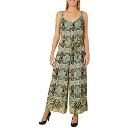 Emma & Michelle Womens Belted Medallion Sleeveless Jumpsuit