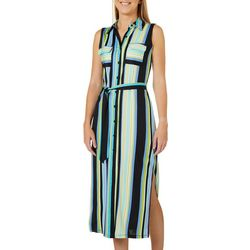 Emma & Michelle Womens Striped Button Down Maxi Shirt Dress