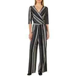Emma & Michelle Womens Belted Faux-Wrap Striped Jumpsuit