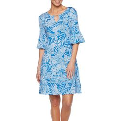 Ruby Road Favorites Womens Tropical Print Keyhole Dress
