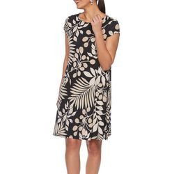 Ruby Road Favorites Womens Floral Leaves Puff Print Dress