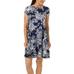 Ruby Road Favorites Womens Floral Puff Print Swing Dress