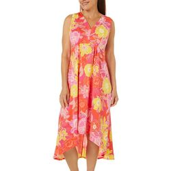 Ruby Road Womens High Low Floral Puff Print Dress