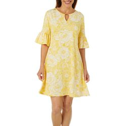 Ruby Road Womens Bell Sleeve Floral Puff Print Dress