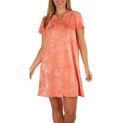 Ruby Road Womens Tie-Dye Split Neck T-Shirt Dress