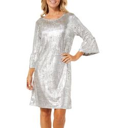 Ruby Road Favorites Womens Embellished Foil Shift Dress