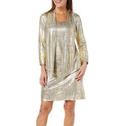 Ruby Road Favorites Womens Metallic Foil Jacket Dress