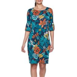 Ruby Road Favorites Womens Tropical Floral Shift Dress