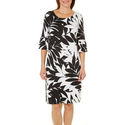 Ruby Road Favorites Womens Tropical Palm Leaf Sheath Dress