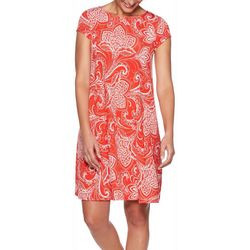 Ruby Road Favorites Womens Floral Scroll Puff Print Dress
