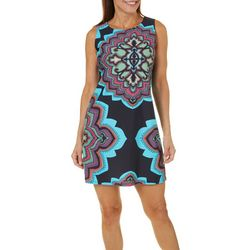 Aryeh Womens Medallion Shift Dress