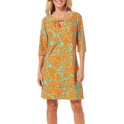 Aryeh Womens Leaf Print Keyhole Dress