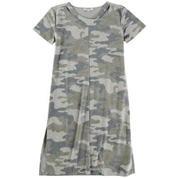 GRACE + KARMA Womens Camo T Shirt Dress