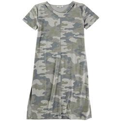 GRACE + KARMA Womens Camo T Shirt Dress