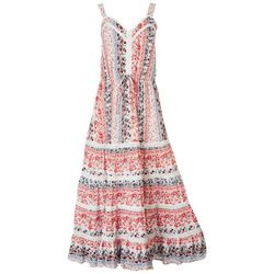American Rag Womens Floral Tiered Lace Sleeveless Dress