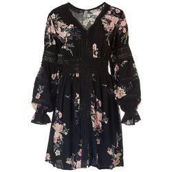 American Rag Womens Floral Ophelia Trim Long Sleeve  Dress