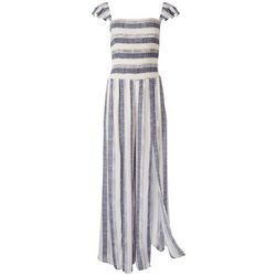 American Rag Womens Striped Jumpsuit With Ruffle Sleeves
