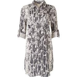 Womens Snakeskin Collared Shirt Dress