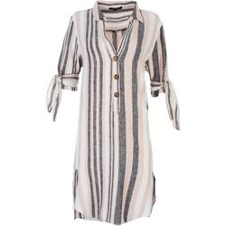 Womens Multi Colored Stripes Shirt Dress