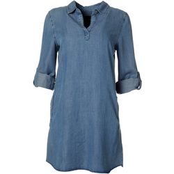 Velvet Heart Womens Soild Tencel Shirt Dress