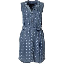 Velvet Heart Womens Polka Dot Button Down Dress