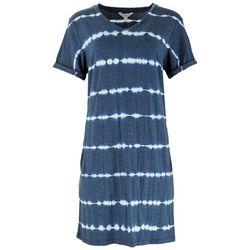 FUDA Womens Tie-Dye Stripes T-Shirt Dress