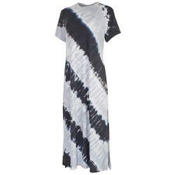 FUDA Womens Tie-Dye Crew Neck T-Shirt Dress
