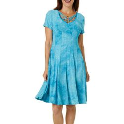 Sami & Jo Womens Sequin Fiesta Lattice V-Neck Dress