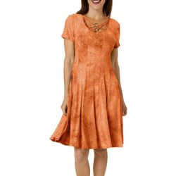 Sami & Jo Womens Lattice Ring Neck Sequin Fiesta Dress