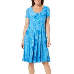 Sami & Jo Womens Textured Floral Panel Dress