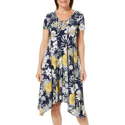 Sami & Jo Womens Tropical Floral Ring Neck Panel Dress