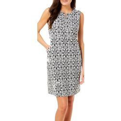 Sami & Jo Womens Floral Medallion Shift Dress