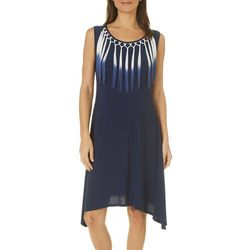 Sami & Jo Womens Solid Fringe Collar Dress