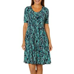 Sami & Jo Womens Puff Palm Print Panel Dress