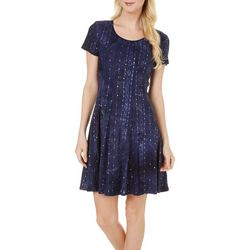 Sami & Jo Womens Embellished Tie Dye Pleat Dress