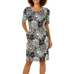 Sami & Jo Womens Rose Print Shift Dress