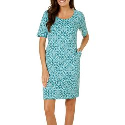 Sami & Jo Womens Whimsical Geometric Print Shift Dress