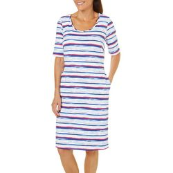 Sami & Jo Womens Wavy Stripe Shift Dress
