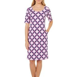 Sami & Jo Womens Geometric Tile Print Shift Dress