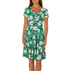 Sami & Jo Womens Floral Garden Print Ring Neck Panel Dress