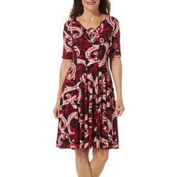 Sami & Jo Petite Scroll Puff Print Ring Neck Panel Dress