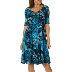 Sami & Jo Womens Mixed Dot Textured Bead Neck Panel Dress